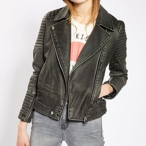 NWT Topshop Washed Faux Leather Biker Moto Jacket